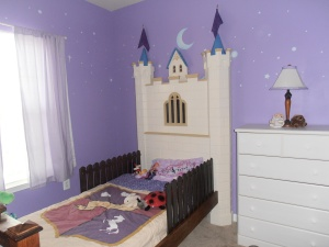 The Castle Bed is for my other grand-daughter. As I was building this, my wife kept telling me it was too big, and would be too heavy. Okay, she was right, but now I know for sure. This one has the night light in the window too.